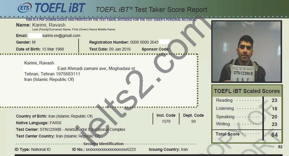 Ravash Karimi TOEFL Score