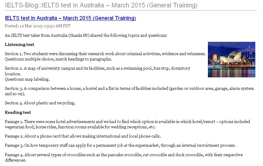 IELTS Test in Australia Marh 2015
