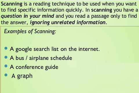Scanning a Passage in IELTS