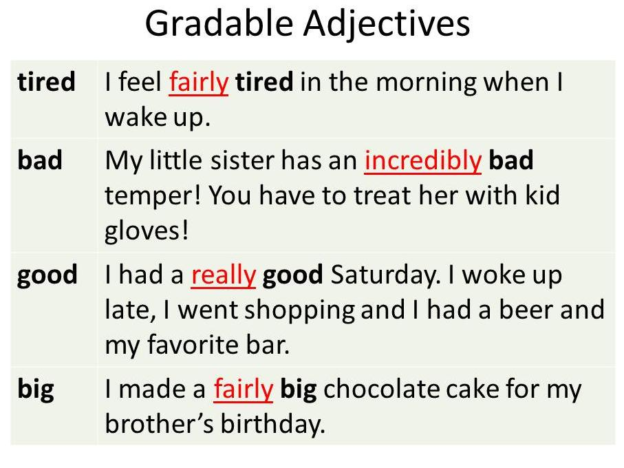 Gradable adjectives
