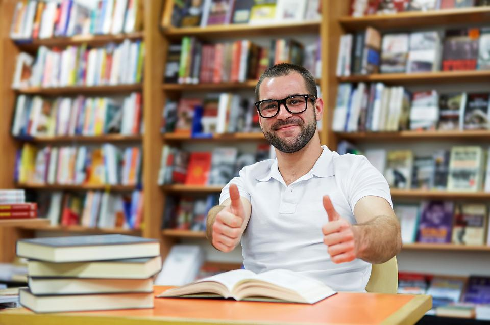 Happy Man In The Library