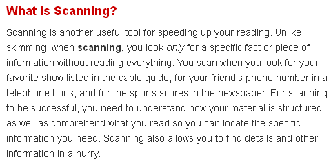 Scanning a Text  IELTS TOEFL