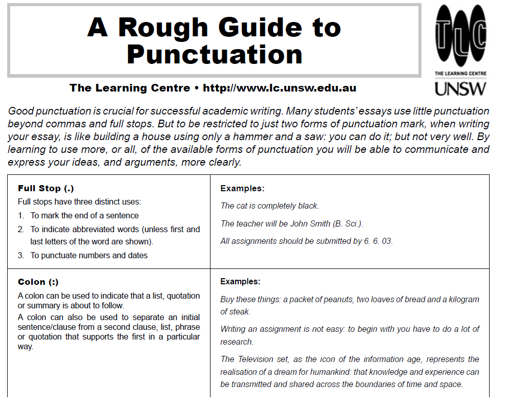 Puntuation Guide