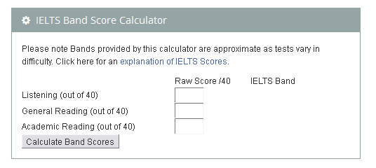 IELTS Band Calculator