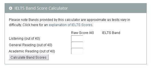 IELTS Band Calculator