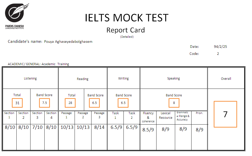 Mock Exam Report Card From Pardis Danesh