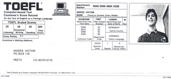 TOEFL, CBT Computer Based TOEFL