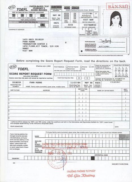 TOEFL PBT Certificate
