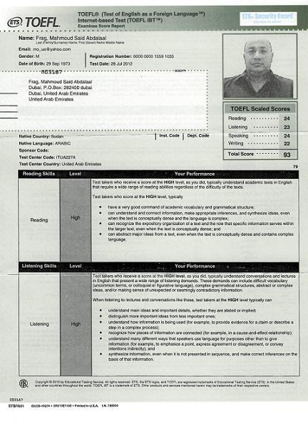 TOEFL iBT Certificatec2012