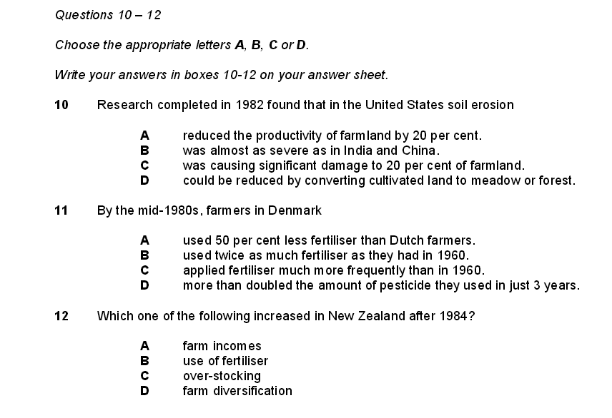 IELTS Reading Multiple Choice Questions