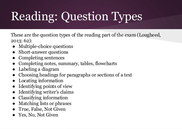 IELTS Reading Question Types