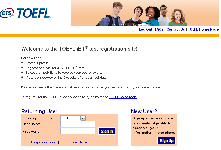 TOEFL Registration