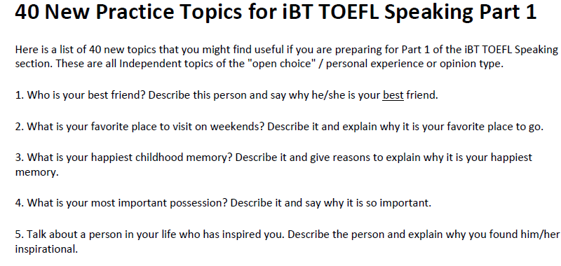 toefl speaking question