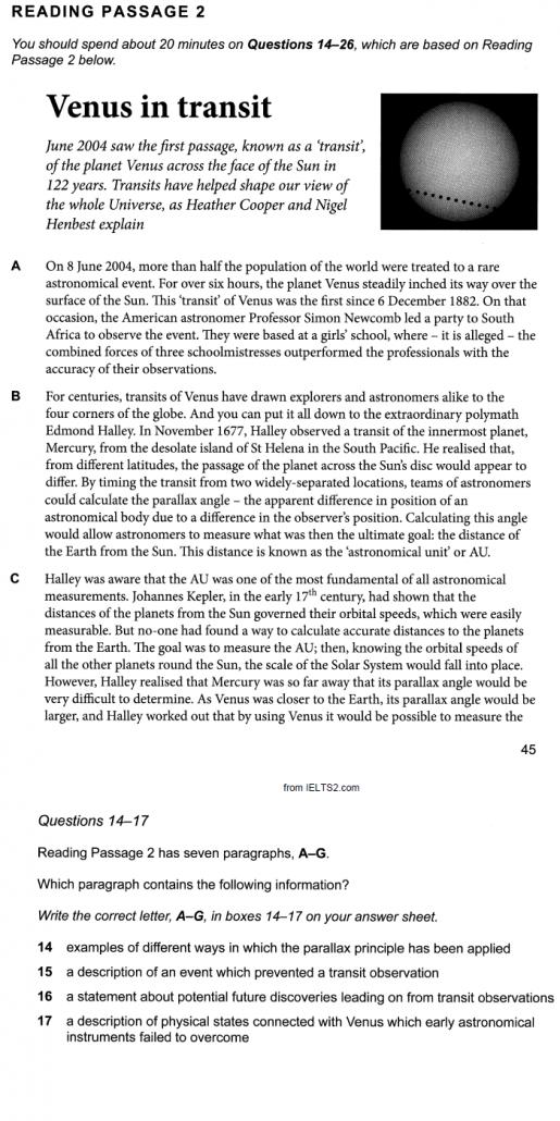 نکته های تست زدن ریدینگ آیلتس، سوال Paragraph Matching