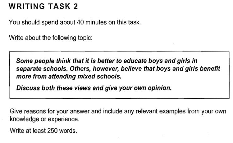 Separate or Mixed Schools IELTS Writing Task 2 Sample Answer