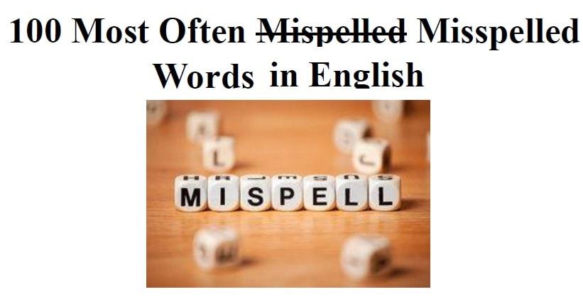 لیست غلط های املایی رایج زبان انگلیسی