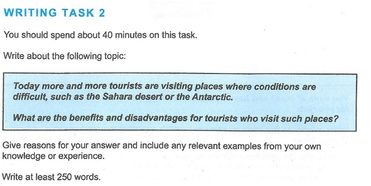 Tourists in Difficult Places Sample Writing Task 2