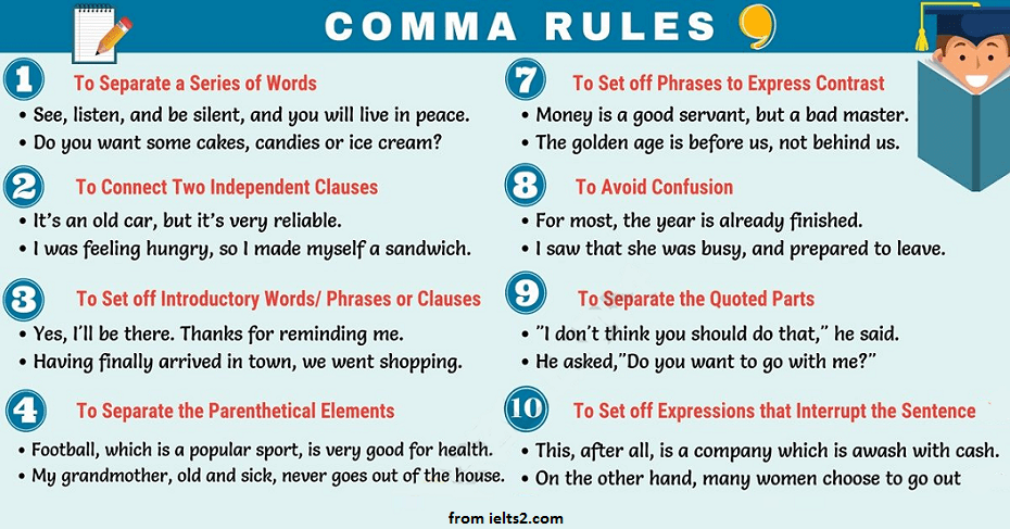 استفاده درست از ویرگول(comma) در زبان انگلیسی